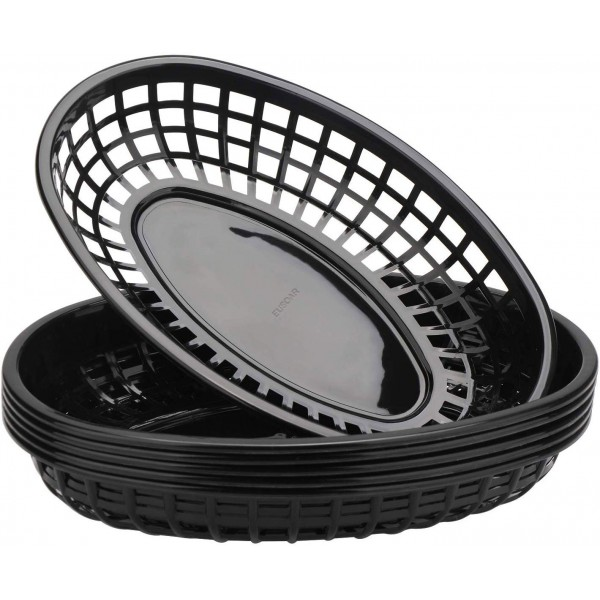 "Eusoar Kitchen Use Bread Baskets, 24 Sets 9.4"" x 5.9"" Fast Food Baskets, Oval-Shaped Tray for Fast Food Restaurant Supplies, Deli Serving Classic Plastic Fry Basket , Chicken, Burgers, Sandwiches & Fries"