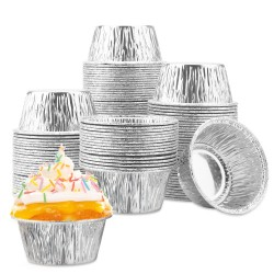 Aluminum Ramekin, Eusoar 100 Pcs 4 Ounce Foil Cupcake Cups, Disposable Muffin Liners, Ramekin Holders Cups, Aluminum Cupcake Baking Pan, Pudding Baking Cups
