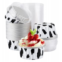 Eusoar Cupcake Liners, 50pcs 5oz 125ml Disposable Ramekins, Aluminum Foil Muffin Liners Cups with Lids, Cupcake Holder, Disposable Aluminum Foil Cupcake Baking Cups Holders Cases Boxes Pans with Lids