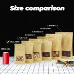 """EUICE Stand Up Pouch Bags, 50pcs 3.9""""x 2.4""""x 7.9"""" Zip Lock Seal Paper Bag, Resealable Storage Package Bag With Notch Window for Storing Food,Nuts,Seeds,Beans,Coffee,Candy,Snack, Dried Fruits"""