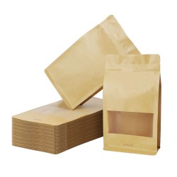"""Eusoar Stand Up Pouch Bags, 50pcs 3.9""""x 2.4""""x 7.9"""" Zip Lock Seal Paper Bag, Resealable Storage Package Bag With Notch Window for Storing Food,Nuts,Seeds,Beans,Coffee,Candy,Snack, Dried Fruits"""