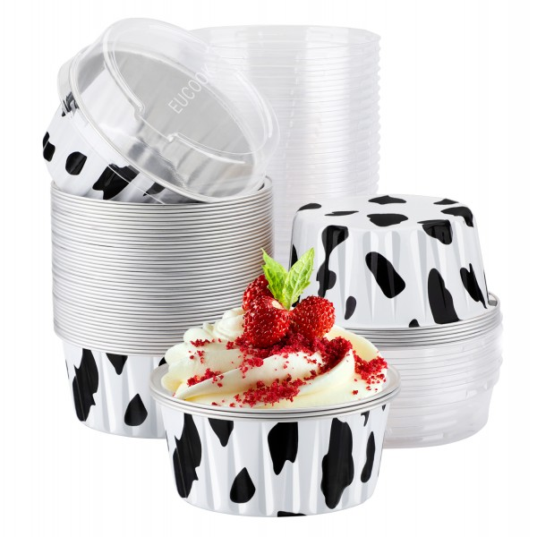 EUCOOK Cupcake Liners, 50pcs 5oz 125ml Disposable Ramekins, Aluminum Foil Muffin Liners Cups with Lids, Cupcake Holder, Disposable Aluminum Foil Cupcake Baking Cups Holders Cases Boxes Pans with Lids