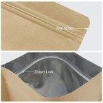 """Kraft Ziplock Bag, 50pcs Stand Up Pouch Reusable Sealing Bags All-Purpose Food Storage Reclosable Lock with Tear Notch (5.9"""" x 9"""" inch)"""