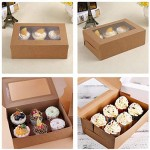 """50pcs Kraft Cupcake Boxes, Eusoar 9.4"""" x 6.2"""" x 3.0"""" Food Grade Natural Color Cupcake Carrier with Insert and Display Window, Cupcake Boxes Fits 6 Cupcakes or Muffins"""