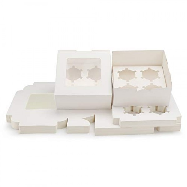 """Kraft Cupcake Boxes, 6.4"""" x 6.3"""" Eusoar 50pcs Food Grade White Color Cupcake Carrier with Insert and Display Window Fits 4 Cupcakes or Muffins"""