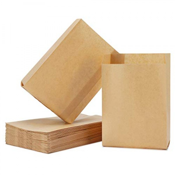 50 Pack Kraft Paper Bags, 6.3X4.3X1.6 Inch Eusoar Food Wrapping Storage Bags, Snack Packaging Bags Durable Cookies Candy Bag