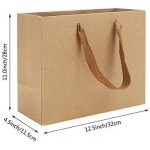 "Kraft Paper Bags, Eusoar 8.3"" x 3.1"" x 10.6"" 25pcs Brown Kraft Paper Gift Bags with Soft Cloth Handles, Bulk Shopping Bags, Wedding Gift Bags, Party Bags, Kraft Retail Merchandise Bags"