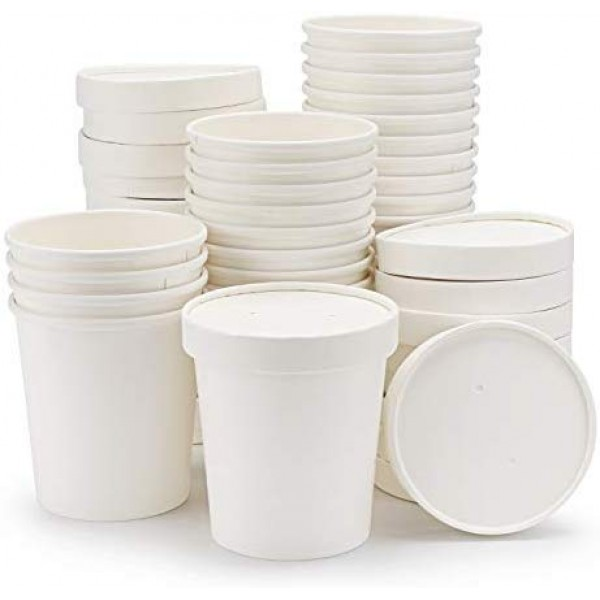 Ice Cream Containers, Eusoar 25pcs 16oz Ice Cream Freezer Containers with Lids, Pint Frozen Dessert Containers for Ice Cream, Meal Prep, Soup and Food Storage
