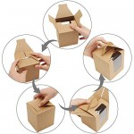 50pcs Kraft Paper Cupcake Boxes, Eusoar Portable Single Individual Paper Cupcake Holder Containers, Muffin Gift Boxes with Window Inserts Handle, for Wedding Birthday Party Candy Boxes