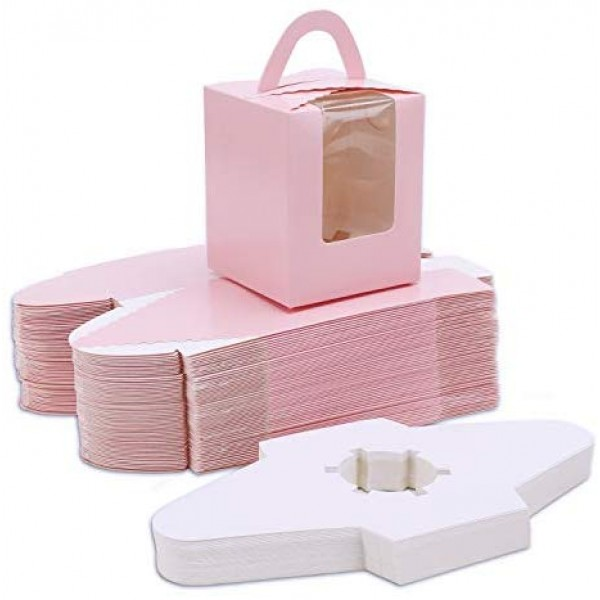 50pcs Single Cupcake Boxes, Eusoar Portable Single Individual Paper Cupcake Holder Containers, Muffin Gift Boxes with Window Inserts Handle, for Wedding Birthday Party Candy Boxes Family Treats