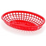 """Set of 24 Food Serving Baskets, Eusoar 9.4"""" x 5.9"""" Reusable Oval Fast Food Baskets, Microwave& Dishwasher Safe Food Grade Plastic Food Service Tray for Party Picnic BBQ Burger Fries Sandwiches"""