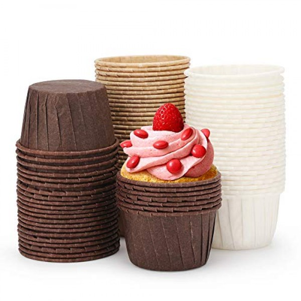 Pack of 90 Mini Cupcake Liners, Baking Paper Cups, 2.5 inch Round Shape Edge Roll Baking Liners Cups Holder for Baking Muffin and Cupcake,No Muffin Pan is needed