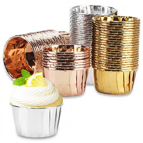 150Pcs Disposable Ramekins, Eusoar 3.5 Ounce Aluminum Foil Cupcake Muffin Liners Wrappers, Cupcake Baking Cups, Disposable Pie Pans Cups, Foil Baking Cups for Party Wedding Birthday
