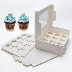 15 pack Cupcake Boxes, Eusoar Disposable Bakery Paper Cupcake Boxes Carrier, Mini Cupcake packaging carton box with Insert and Display Window, Thick Sturdy Cake Storage Boxes Holding 12 pcs cupcakes