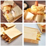 """6.3""""X4.3""""X1.6"""" 100 Pcs Kraft Paper Lunch Bags, Durable Oil-Proof Bread Hamberger Bag,Grocery Sack Lunch Bags,Food Storage Bags with Foldable Mouth"""