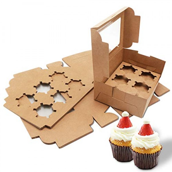 15 Packs Kraft Cupcake Boxes, Cupcake Carrier, Cupcake Display, Cupcake Container, Kraft Bakery Boxes with Inserts and Display Window Holds 6 Standard Cupcakes Muffins