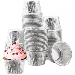 100Pcs Aluminum Cupcake Liner, Eusoar 3.5 Ounce Disposable Aluminum Foil Baking Cups, Ramekin Muffin Liners Cup, Pudding Liners Holders, Aluminum Cupcake Tip Pan Ramekin Holders