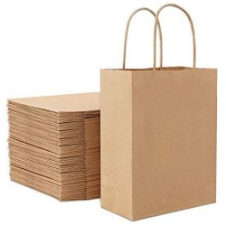 "50pcs Brown Kraft Paper Bags, Eusoar 10.2"" x 4.7"" x 13"" Gift Bags, Shopping Bags, Standable Retail Merchandise Bags, Party Bags, Brown Paper Bags with Handles Bulk"