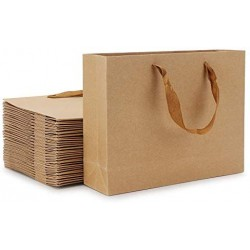 "Paper Bags, Eusoar 25pcs 8.6"" x 3.9'' x 7'' Brown Kraft Paper Bags with Handles, Kraft Shopping Bags, Party Bags, Retail Handle Bags, Merchandise Bags, Wedding Party Bags"