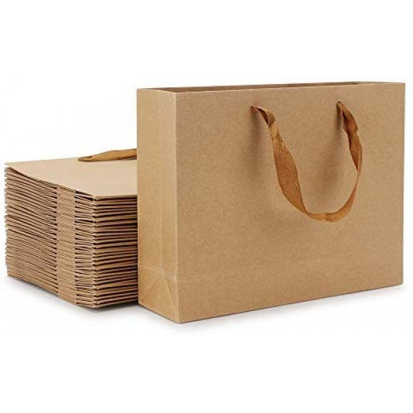 """Paper Bags, Eusoar 25pcs 8.6"""" x 3.9'' x 7'' Brown Kraft Paper Bags with Handles, Kraft Shopping Bags, Party Bags, Retail Handle Bags, Merchandise Bags, Wedding Party Bags"""