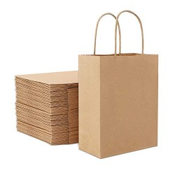 "50pcs Brown Kraft Paper Bags, Eusoar 6.3""x 3.2""x 8.3"" Gift Bags, Shopping Bags, Standable Retail Merchandise Bags, Party Bags, Brown Paper Bags with Handles Bulk"
