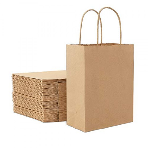 "25pcs Brown Kraft Paper Bags, Eusoar 10.2"" x 4.7"" x 13"" Gift Bags, Shopping Bags, Standable Retail Merchandise Bags, Party Bags, Brown Paper Bags with Handles Bulk"