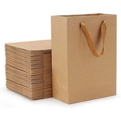 "Brown Paper Bags, Eusoar 50pcs 5.9"" x 2.3"" x 7.8"" Kraft Paper Shopping Bags with Handles, Merchandise Bags, Retail Handle Bags, Wedding Party Bags with Handle"