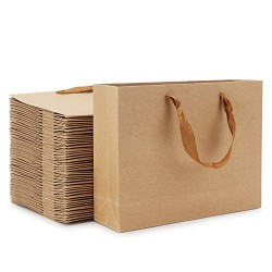 "Kraft Shopping Paper Bags, Eusoar 50pcs 10.6"" x 3.1"" x 8.3"" Brown Kraft Gift Bags with Handles, Kraft Bags, Party Bags, Retail Handle Bags, Merchandise Bag, Wedding Party Bag"