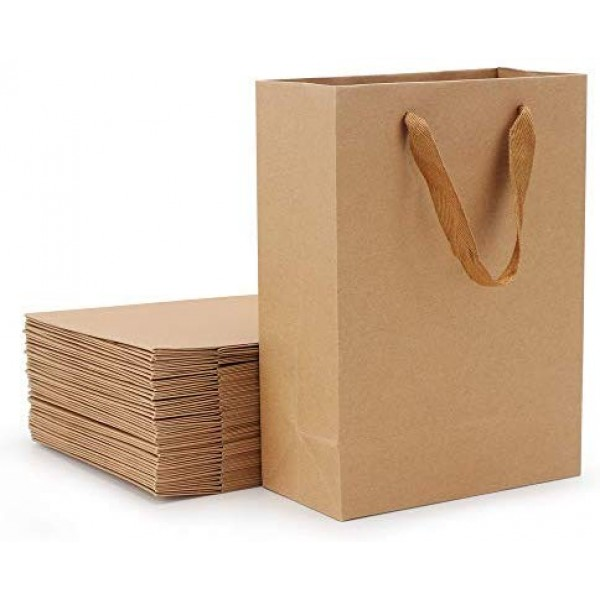 "Merchandise Bags, Eusoar 25pcs 5.9"" x 2.3"" x 7.8"" Brown Kraft Paper Bags with Handles, Kraft Bags, Party Bags, Retail Handle Bags, Paper Shopping Bags, Wedding Party Bags"