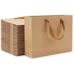 "Kraft  Paper Bags, Eusoar 50pcs 12.5"" x4.5'' x11'' Shopping Paper Bags with Handles, Brown Kraft Paper Bags, Retail Handle Bags, Merchandise Bags, Wedding Party Bags"