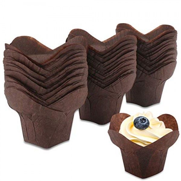 100 Pcs Baking Cups, Eusoar 1.3 Ounce Daffodil Petal Muffin Cupcake Liners, Muffin Pan Liners, Cupcake Baking Pan Ramekin Holders, Home Party Bakery Baking Store Uses
