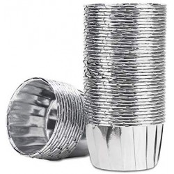 50Pcs Aluminum Foil Cupcake Cups, Eusoar Silver Disposable Muffin Liners, Baking Cups, Aluminum Cupcake Tip Pan Ramekin Holders, Little Pudding Cups
