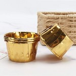 50 Count Aluminum Foil Muffin Cups, Eusoar 3.5 Ounce Disposable Foil Muffin Liners, Gold Cupcake Baking Cups, Ramekin Aluminum Cupcake Tip Pan Ramekin Holders, Little Baking Cups
