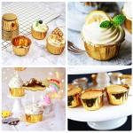 50Pcs Aluminum Foil Cupcake liners, Eusoar Disposable Muffin Ramekin Baking Cups, Aluminum Cupcake Cups, Tip Pan Ramekin Holders, Little Foil Cups