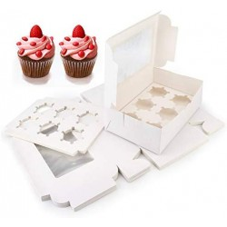 """15 Sets White Cupcake Boxes, Eusoar 9.4"""" x 6.1"""" x 3.0"""" Cupcake Carrier, Cupcake Display Boxes, Cupcake Container with Cupcake Inserts&Window, for Cookies, Muffins, Bakeries and Pastries"""