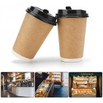 25pcs Disposable Hot Paper Coffee Cups, Eusoar 16 oz Disposable Double Walled Hot Cups with Lids, Perfect Travel To Go Party Paper Cups for Hot Coffee, Tea, Chocolate Drinks