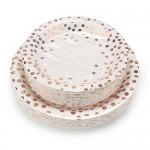 "100 Count Disposable Paper Plates, Eusoar RoseGold DotsPaper PlatesSets 50Pcs x 7""+ 50Pcs x 9"",LunchDinner Dessert Plates, Birthday, Baby Shower, Wedding, Party Plates DinnerwareBulk Sets"
