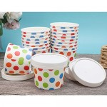 """25pcs Ice Cream Containers, Eusoar 8 oz 2.8"""" x 2.4"""" x 3.5"""" Freezer Paper Ice Cream Cups with Lids, Pint Frozen Dessert Containers for Ice Cream, Meal Prep, Soup and Food Storage Cups"""