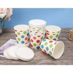 """25pcs Ice Cream Containers, Eusoar 16oz 3.0"""" x 4.1"""" x 3.7"""" Freezer Paper Ice Cream Cups with Lids, Pint Frozen Dessert Containers for Ice Cream, Meal Prep, Soup and Food Storage Cups"""