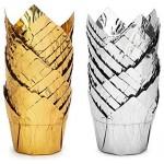 100Pcs Aluminum Foil Cups, Eusoar 3.5 Ounce Foil Baking Cups, Muffin Liners, Disposable Tulip Style Cupcake Cups, Baking Cups, Aluminum Cupcake Pan Ramekin Holders