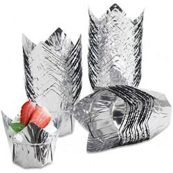 50Pcs Cupcake Muffin Liners, Eusoar 3.5 Ounce Aluminum Foil Baking Cups, Disposable Tulip Style Cupcake Cups, Baking Cups, Foil Cups, Aluminum Cupcake Pan Ramekin Holders