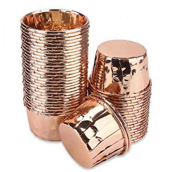 "50 Count Aluminum Foil Muffin Cups, Eusoar 1.9"" x 1.6"" x2.7"" Disposable Muffin Liners, Rose Gold Cupcake Baking Cups, Little Baking Cups, Ramekin Aluminum Cupcake Tip Pan Ramekin Holders"