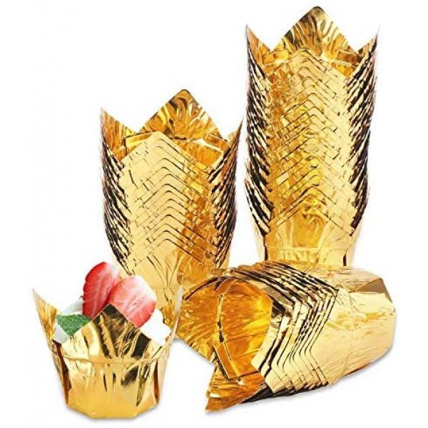 50Pcs Cupcake Baking Cups, Eusoar 3.5 Ounce Disposable Muffin Liners, Aluminum Foil Tulip Style Cupcake Cups, Baking Cups, Foil Cups, Aluminum Cupcake Pan Ramekin Holders