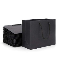 "Paper Bags with Handles, Eusoar 20pcs 10.6"" x 3.1"" x 8.3"" Black Kraft Paper Gift Bags Bulk, Shopping Bags with Handles, Lunch Bags, Merchandise Bag, Party Bags, Retail Handle Bags, Wedding Bags"