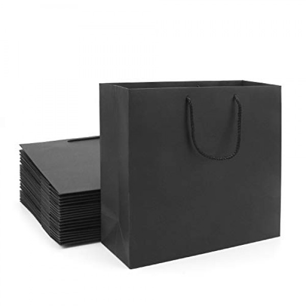 "Gift Bags with Handles, Eusoar 20pcs 12.5"" x 4.5"" x 11"" Black Kraft Paper Bags Bulk, Shopping Bags with Handles, Lunch Bags, Merchandise Bag, Party Bags, Retail Handle Bags, Wedding Bags"