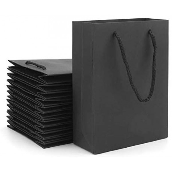 "Paper Gift Bags, Eusoar 20pcs 7.8"" x 3.9"" x 11"" Black Kraft Paper Bags with Handles Bulk, Shopping Bags with Handles, Lunch Bags, Merchandise Bag, Party Bags, Retail Handle Bags, Wedding Bags"