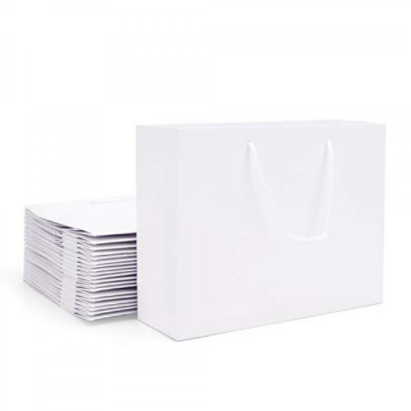 """White Paper Bags with Handles, Eusoar 20pcs 10.6"""" x 3.1"""" x 8.3"""" Kraft Paper Bags Bulk, Shopping Bags with Handles, Merchandise Bag, Party Bags, Retail Handle Bags, Wedding Bags, Lunch Bags"""