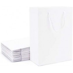 "White Kraft Gift Bags, Eusoar 20pcs 9.8"" x 5.1"" x 12.5"" Paper Shopping Bags Bulk, Paper Bags with Handles, Merchandise Bag, Party Favors Bags, Retail Handle Bags, Wedding Bags, Paper Lunch Bags"