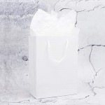 "White Kraft Gift Bags, Eusoar 20pcs 9.8"" x 5.1"" x 12.5"" Paper Shopping Bags Bulk, Paper Bags with Handles, Merchandise Bag, Party Favors Bags, Retail Handle Bags, Wedding Bags, Paper Lunch Bags"