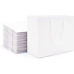 "White Kraft Paper Bags, Eusoar 20pcs 8.6"" x3.9'' x7'' Kraft Paper Gift Bags with Handles Bulk, Shopping Bags with Handles, Merchandise Bag, Party Favors Bags, Retail Handle Bags, Wedding Bags"